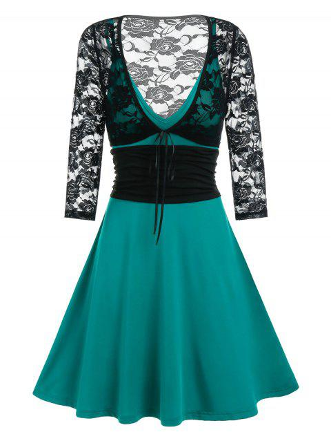 Tie Front Lace Crop Top And Cami A Line Dress Set