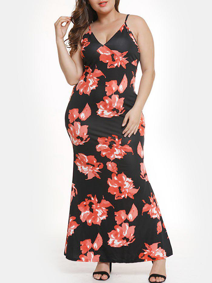Floral Cami Maxi Plus Size Mermaid Dress - RED 2XL