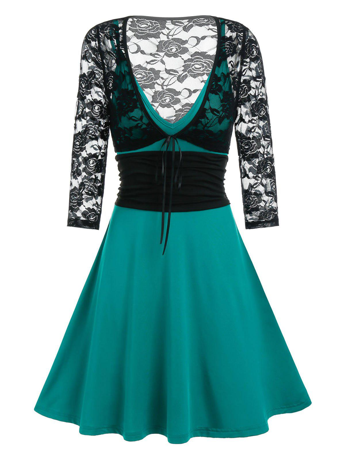 Tie Front Lace Crop Top And Cami A Line Dress Set - MEDIUM TURQUOISE 2XL