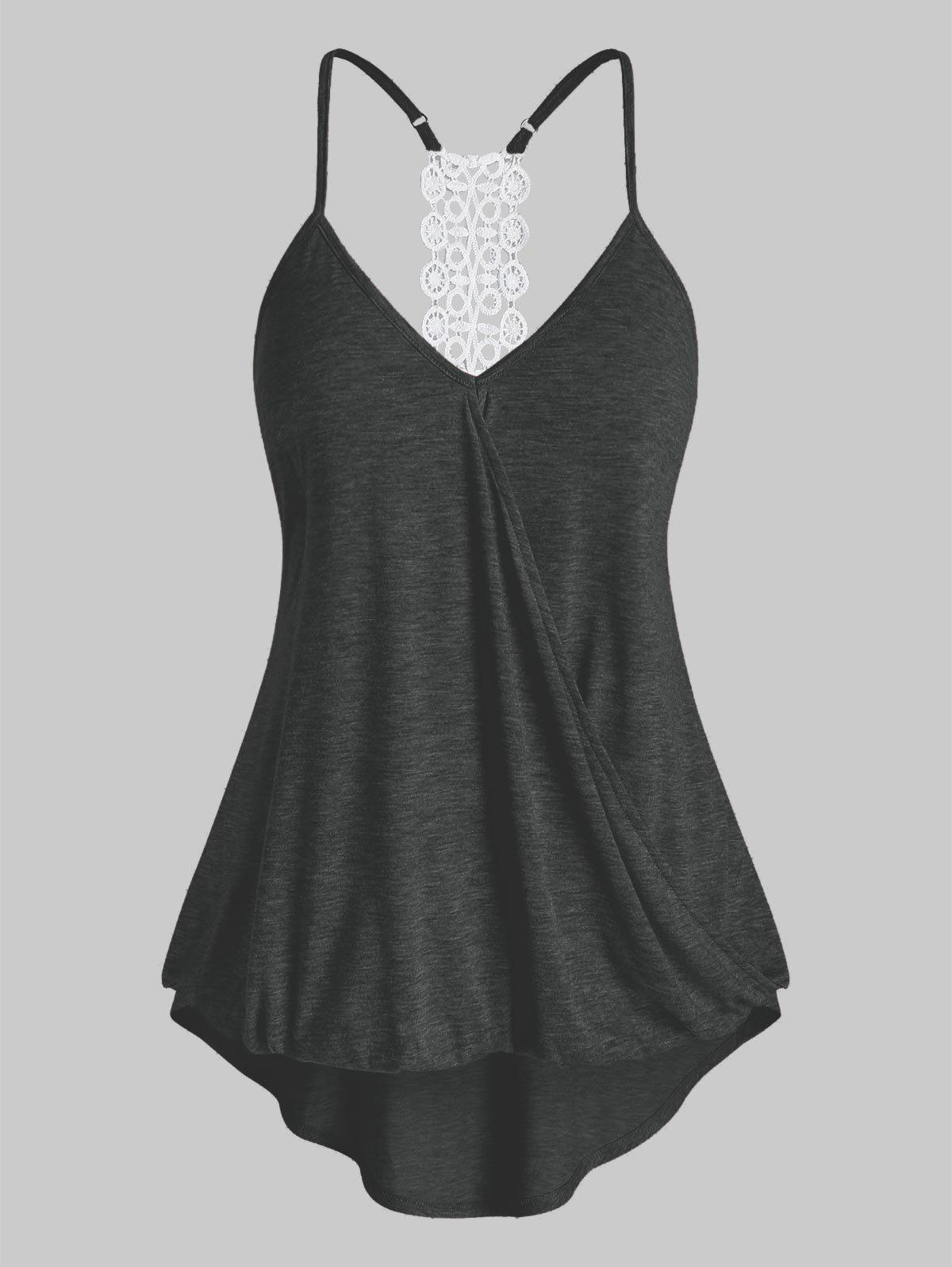 Plus Size High Low Surplice Tank Top - DARK SLATE GREY L