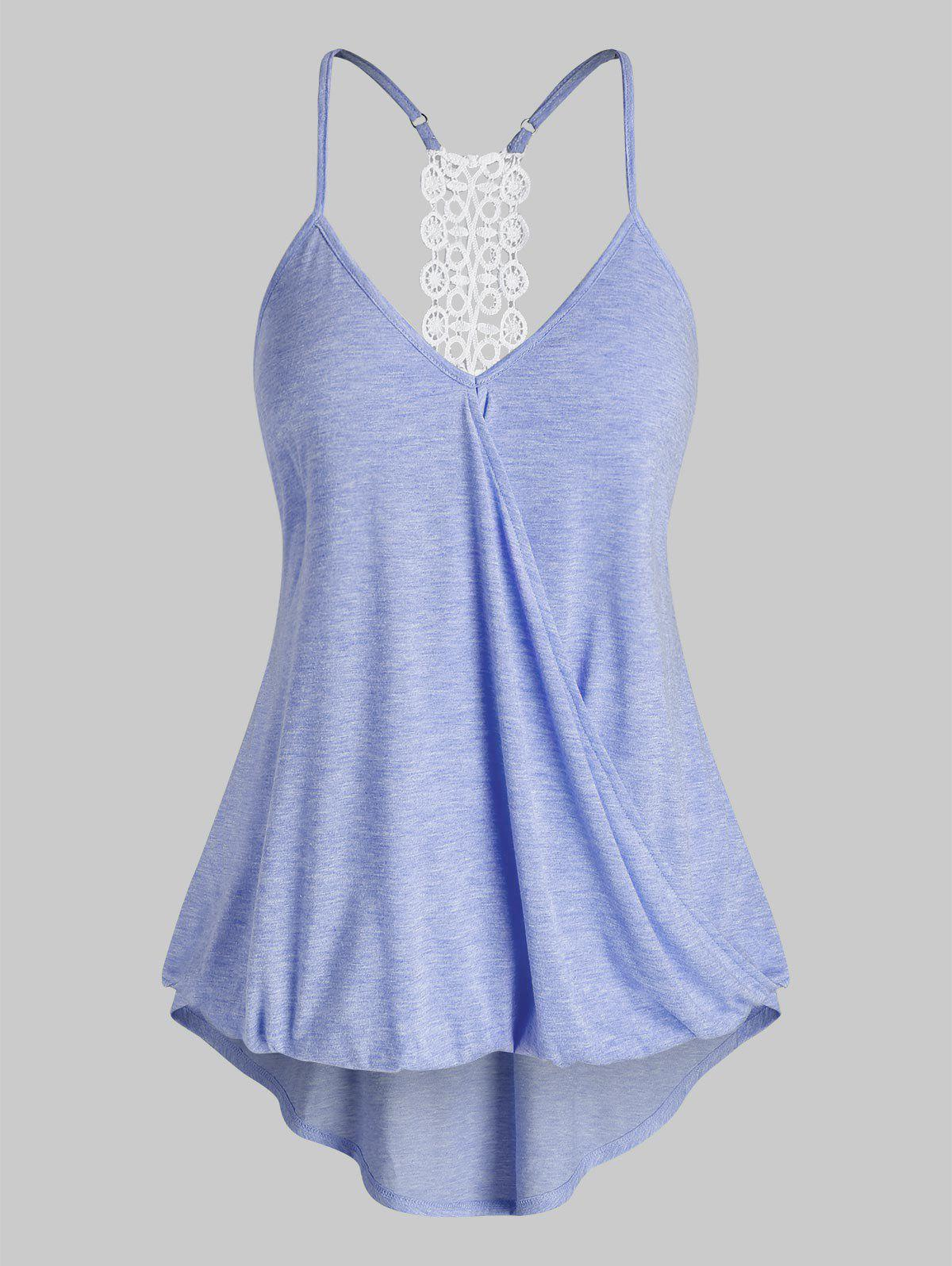 Plus Size High Low Surplice Tank Top - CORNFLOWER BLUE 2X