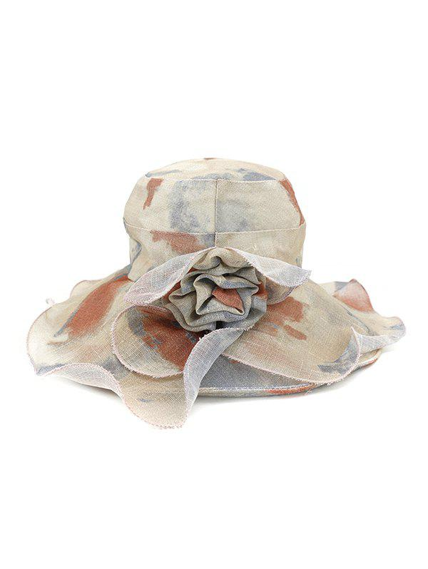Water Color Floral Wide Brimmed Beach Sun Hat - BROWN
