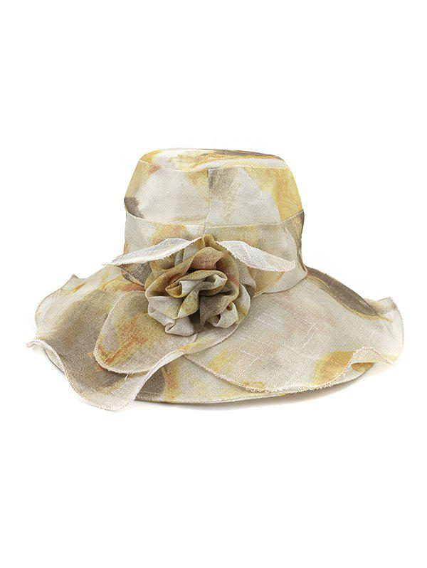 Water Color Floral Wide Brimmed Beach Sun Hat - KHAKI