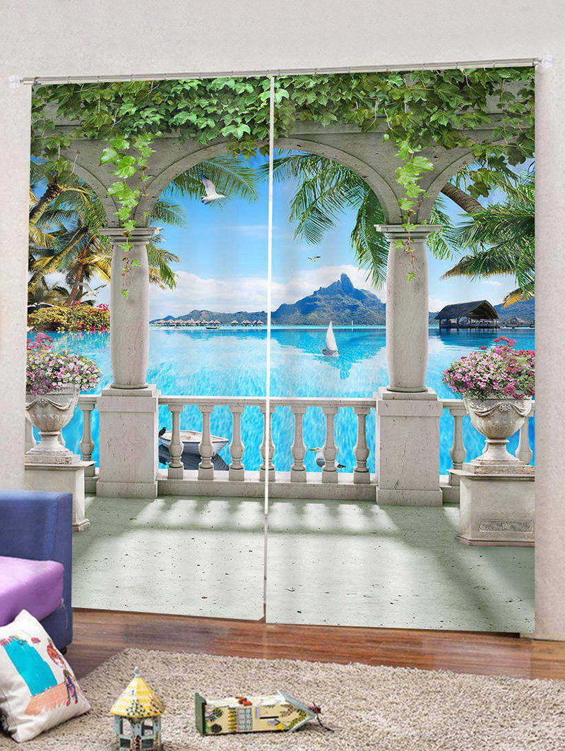 2 Panels Sea Handrail Digital Print Window Curtains - multicolor Z W30 X L65 INCH X 2PCS