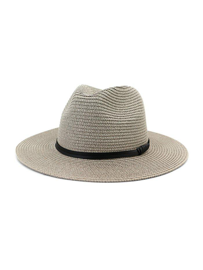Jazz Straw Hat With Leather Detail - GRAY