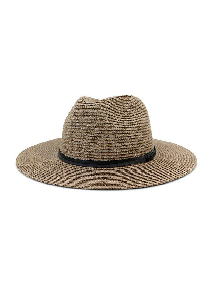 Jazz Straw Hat With Leather Detail - 001