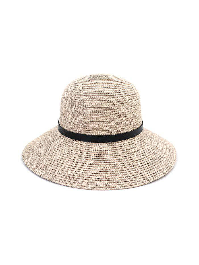 Wide Brim Straw Hat With Leather Detail - LIGHT PINK