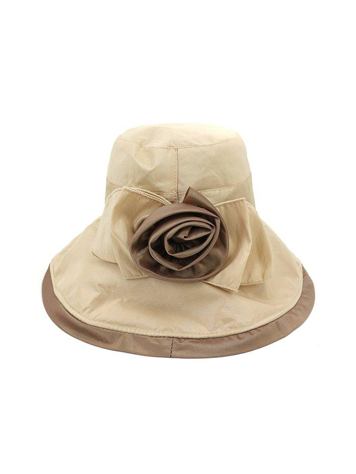 Bowknot Wide Brim Bucket Hat - KHAKI
