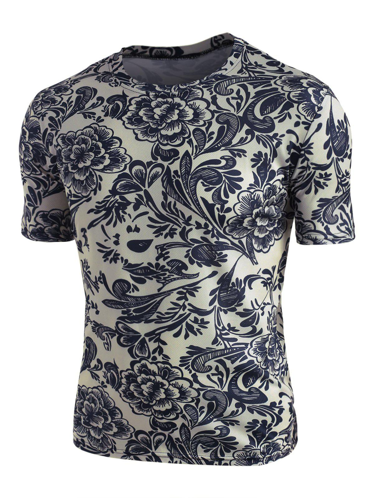 Retro Flower Print Crew Neck Short Sleeve Tee - PLATINUM M