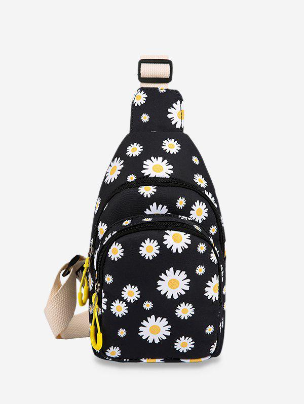 Daisy Flower Printed Fresh Style Crossbody Bag - BLACK