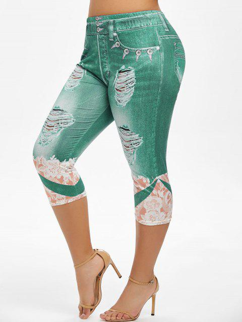 Plus Size Flower 3D Ripped Pattern Cropped Jeggings
