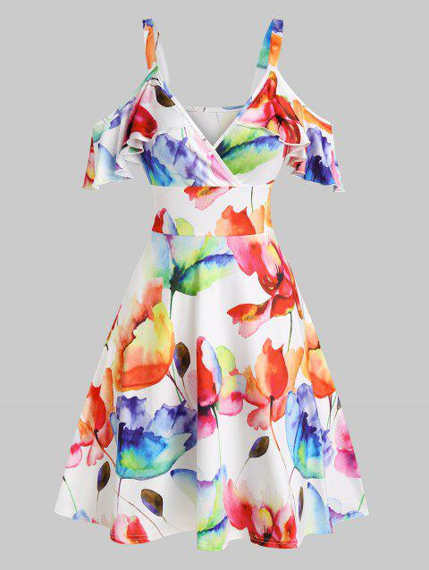 Cold Shoulder Flower Printed High Waist Dress