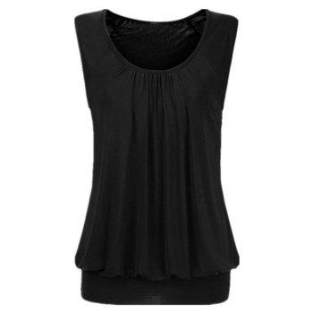 Ruched Solid Blouson Plus Size Tank Top