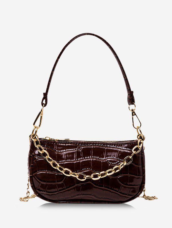 Chain Textured Solid Shoulder Bag - DEEP COFFEE