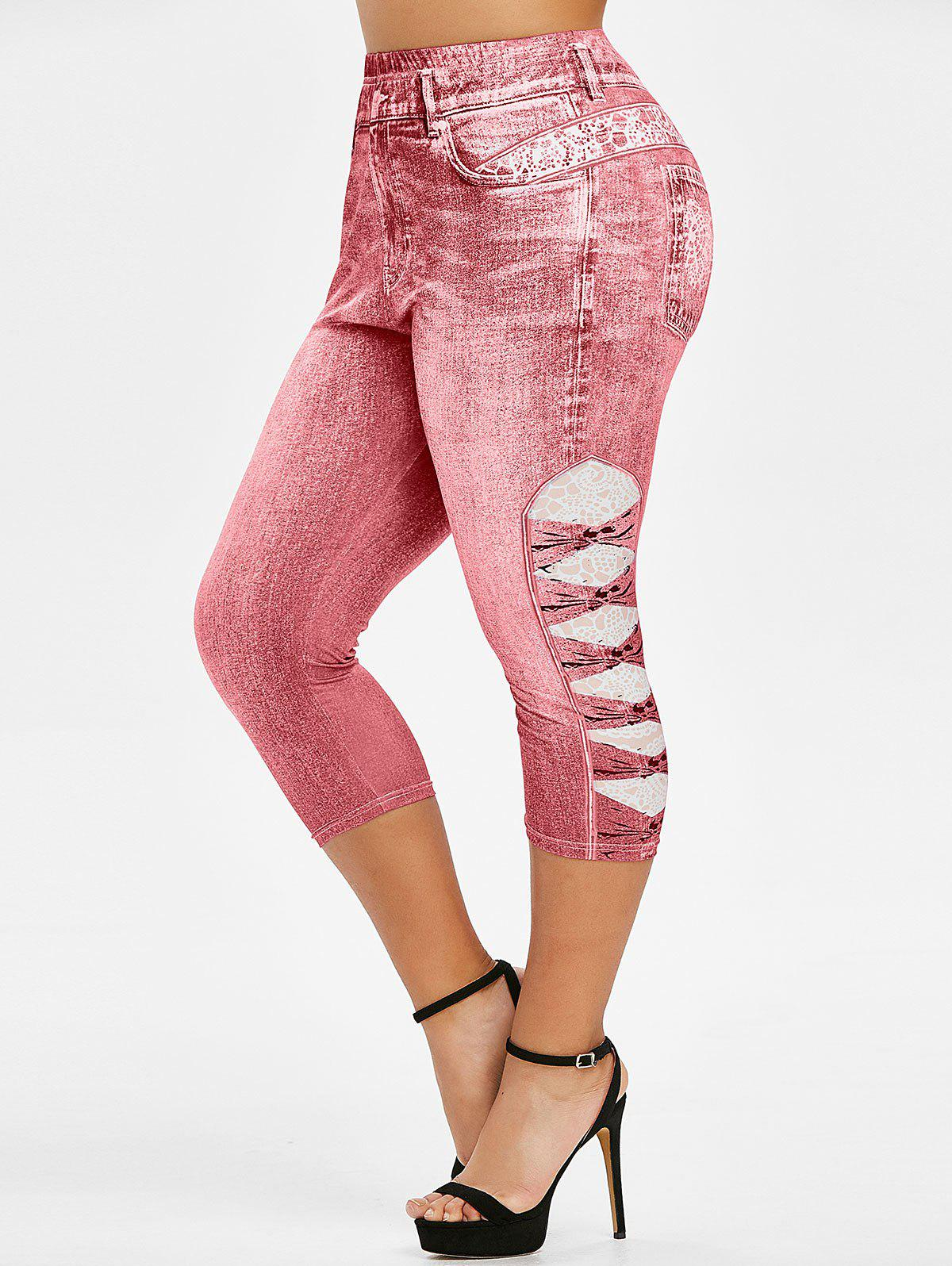 Plus Size 3D Print Cropped Jeggings - LIGHT PINK 4X