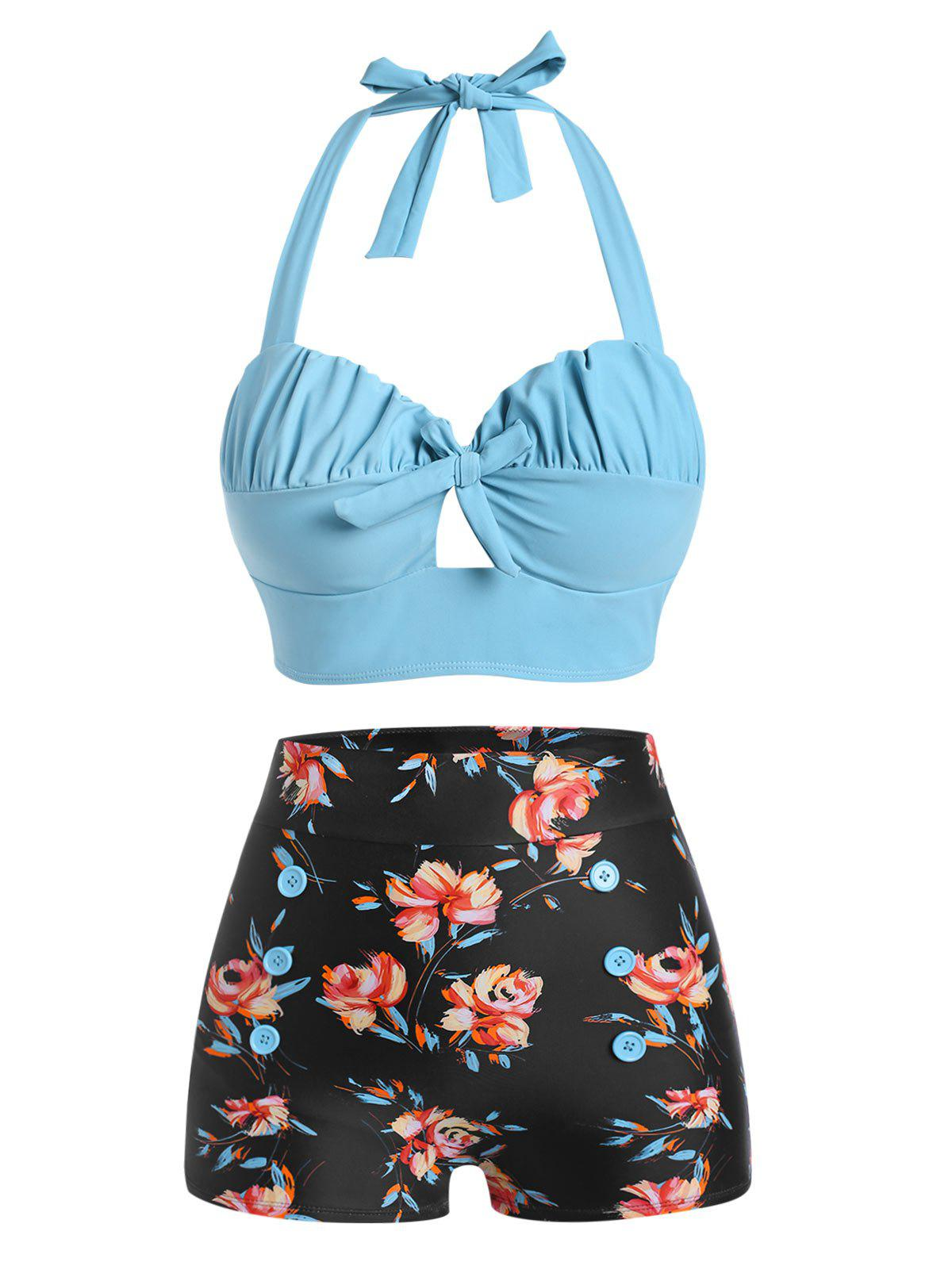 Halter Floral Ruched Boyshorts Bikini Swimwear - LIGHT SKY BLUE XL