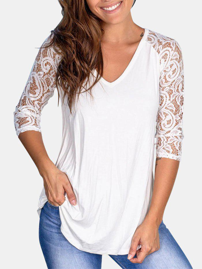 Raglan Sleeve Curved Hem Lace Panel Top - WHITE L