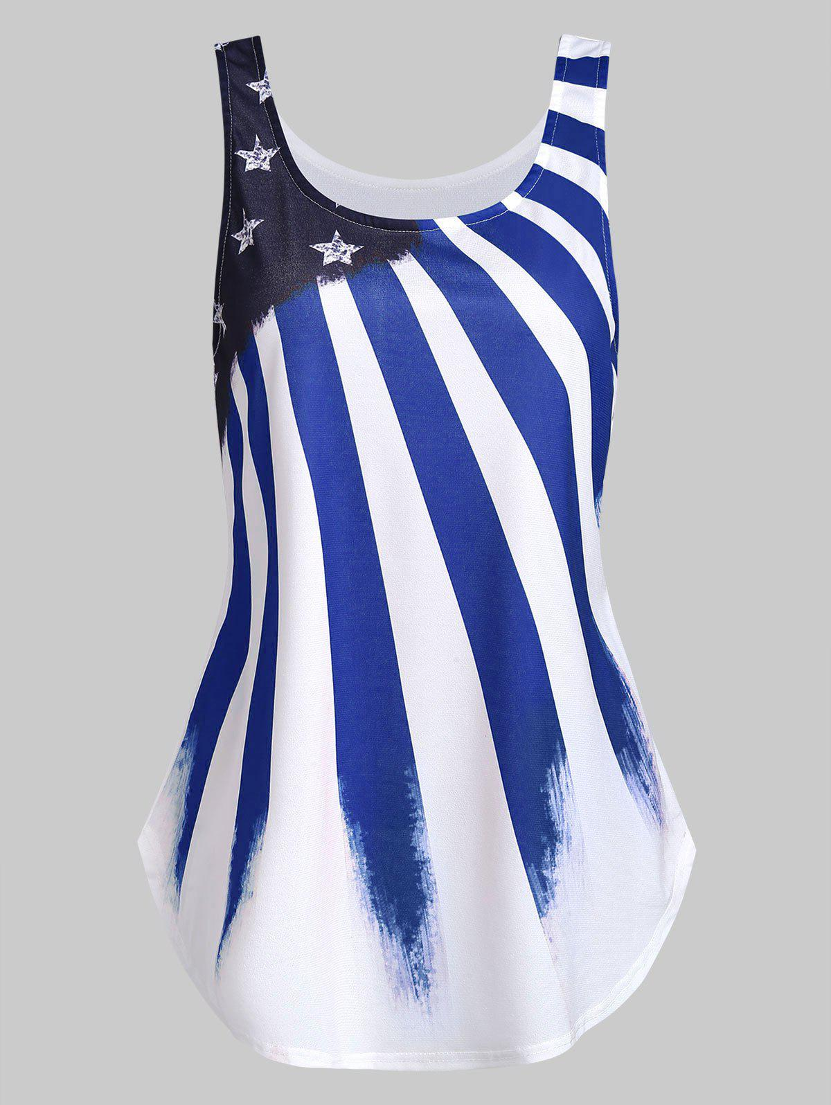 American Flag Print U Neck Tank Top - BLUE 2XL