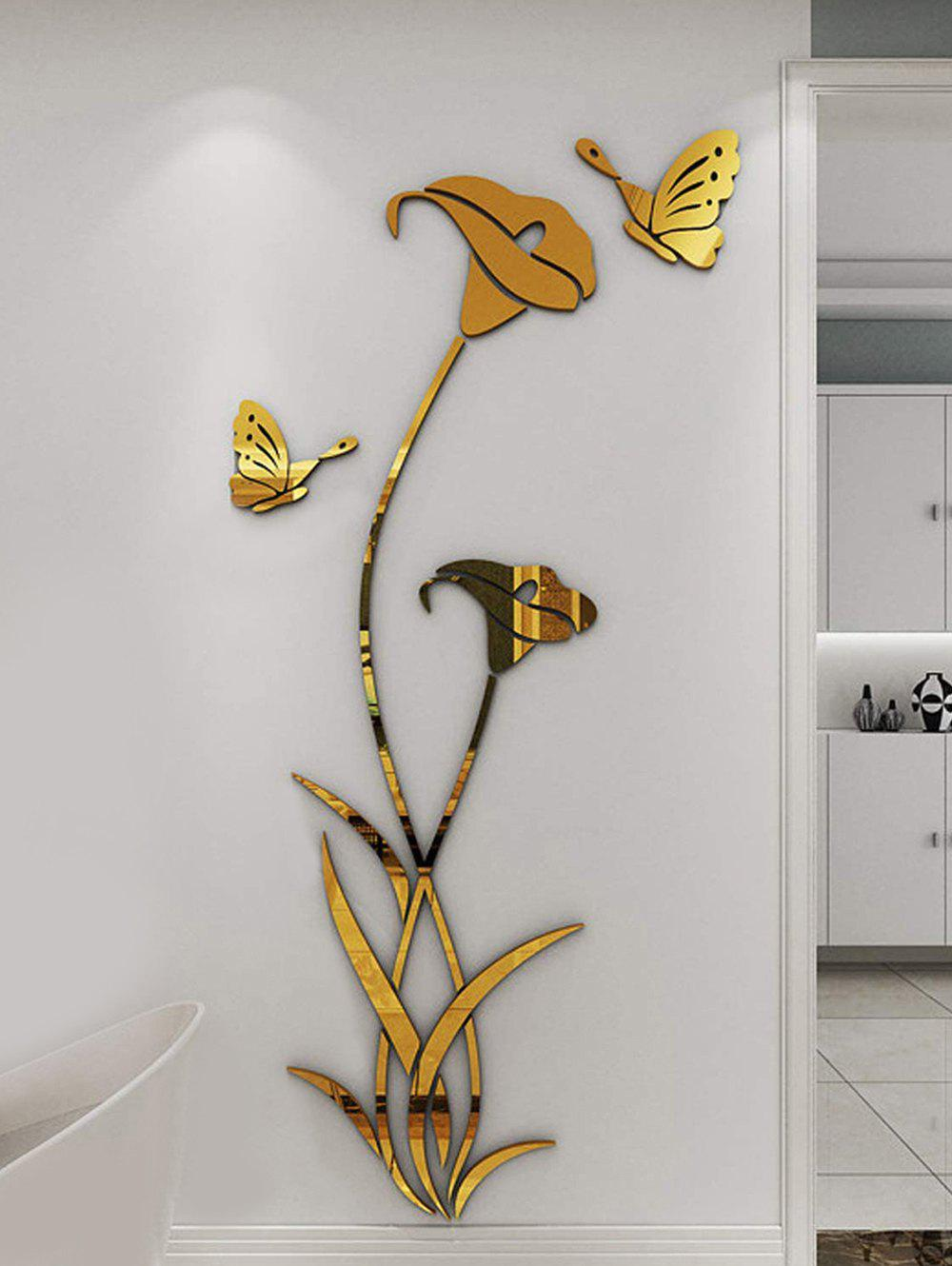 Flowers and Butterfly Pattern Decorative Mirror Wall Stickers - GOLDEN 52*100CM