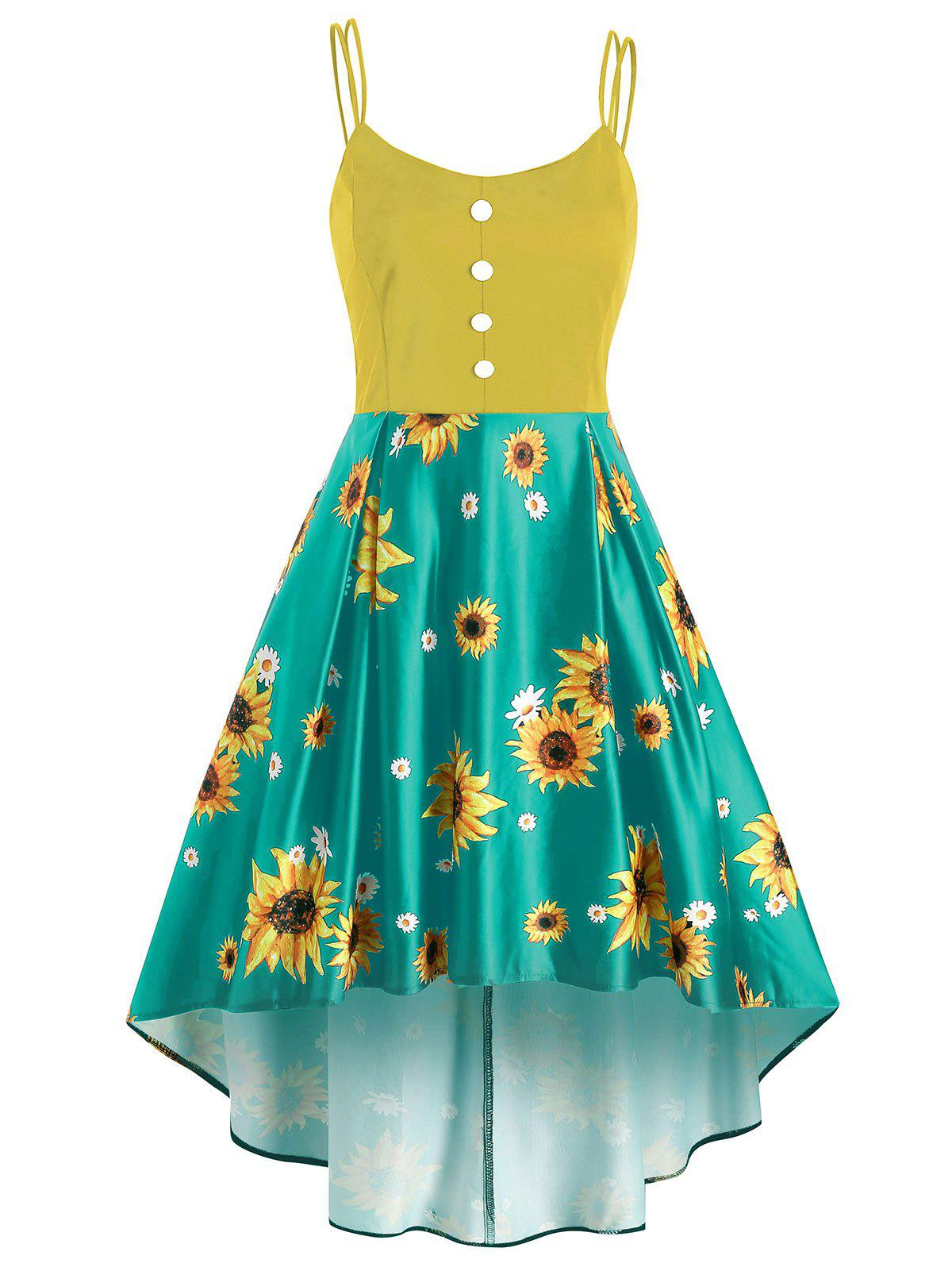 Mock Button Sunflower Print High Low Dress - YELLOW 2XL