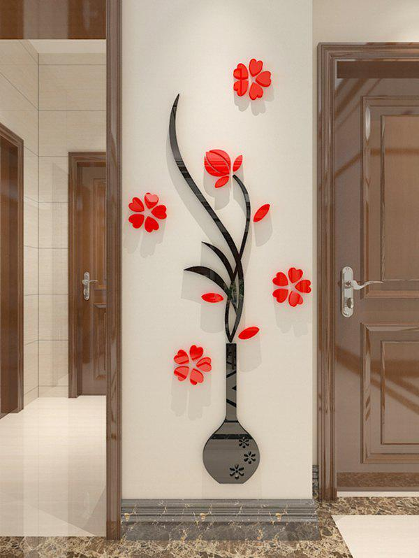 DIY Vase Floral 3D Home Decoration Wall Stickers - RED 40*100CM