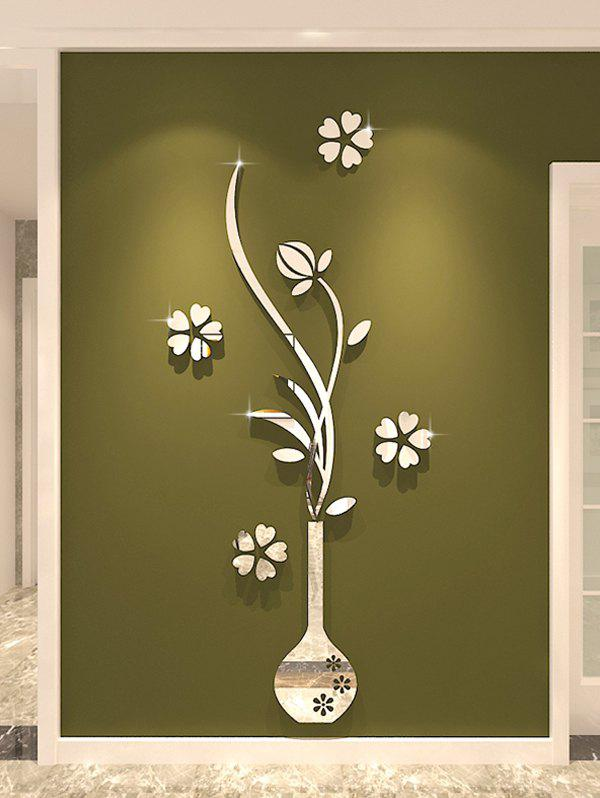 DIY Vase Floral 3D Home Decoration Wall Stickers - SILVER 40*100CM