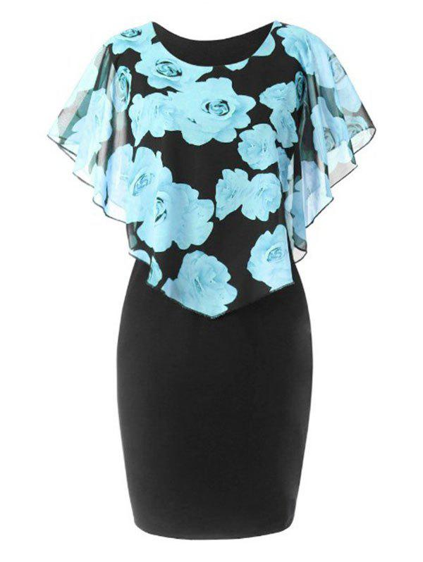 Floral Overlay Chiffon Panel Plus Size Bodycon Dress - LIGHT BLUE 3XL