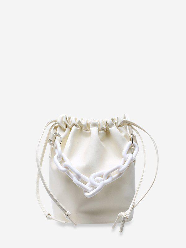Thick Chain Drawstring Crossbody Bucket Bag - WHITE