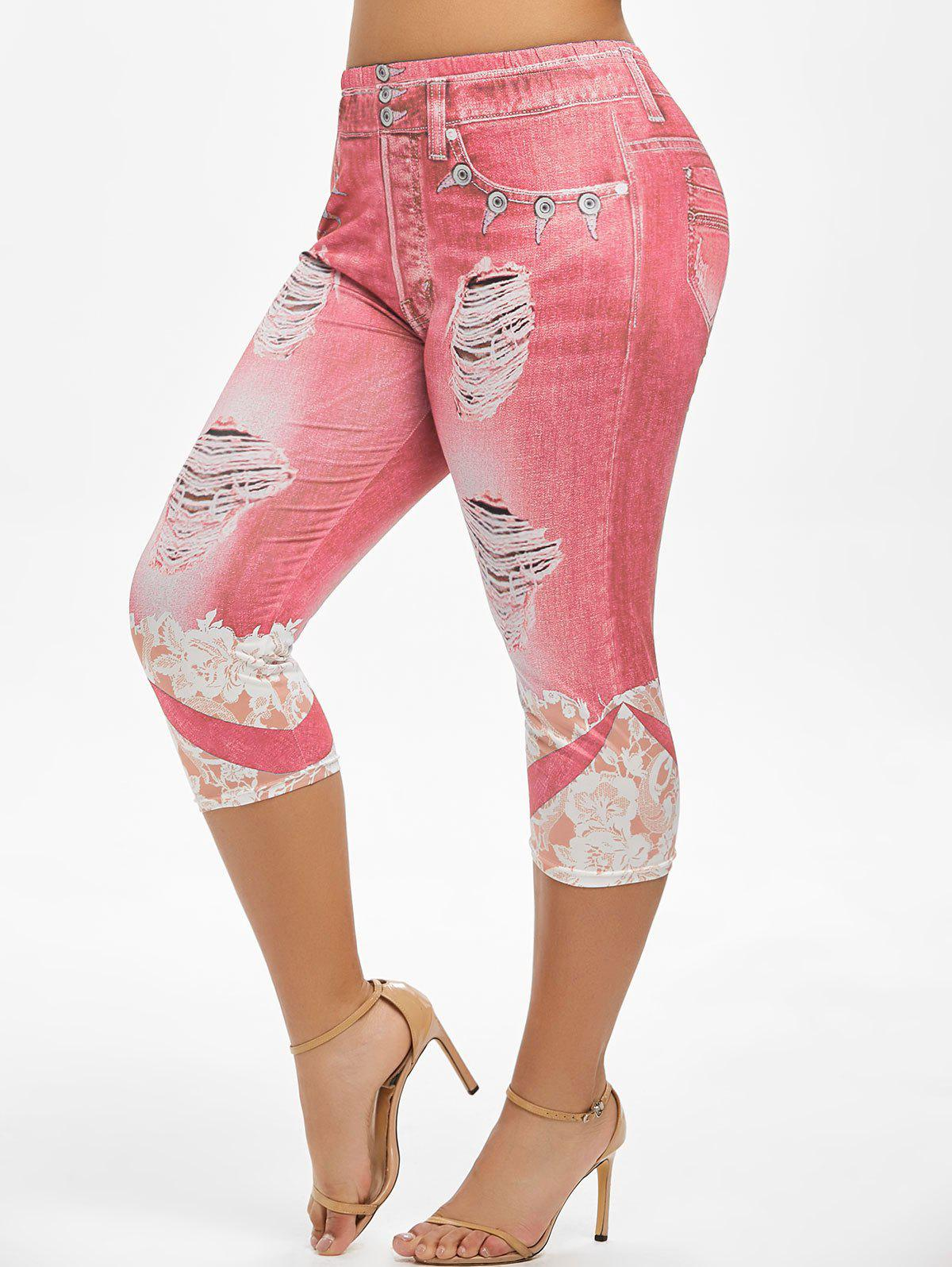 Plus Size Flower 3D Ripped Pattern Cropped Jeggings - RED 3X