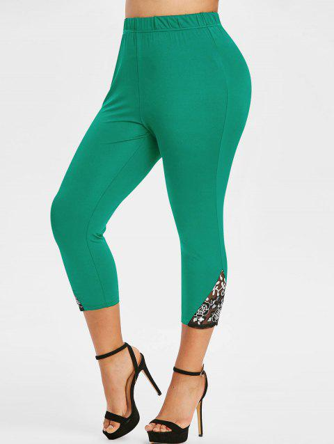 Plus Size Lace Mesh Sequins Fitted Leggings