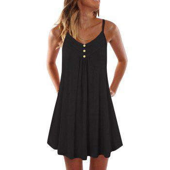 Mock Button Spaghetti Strap Dress