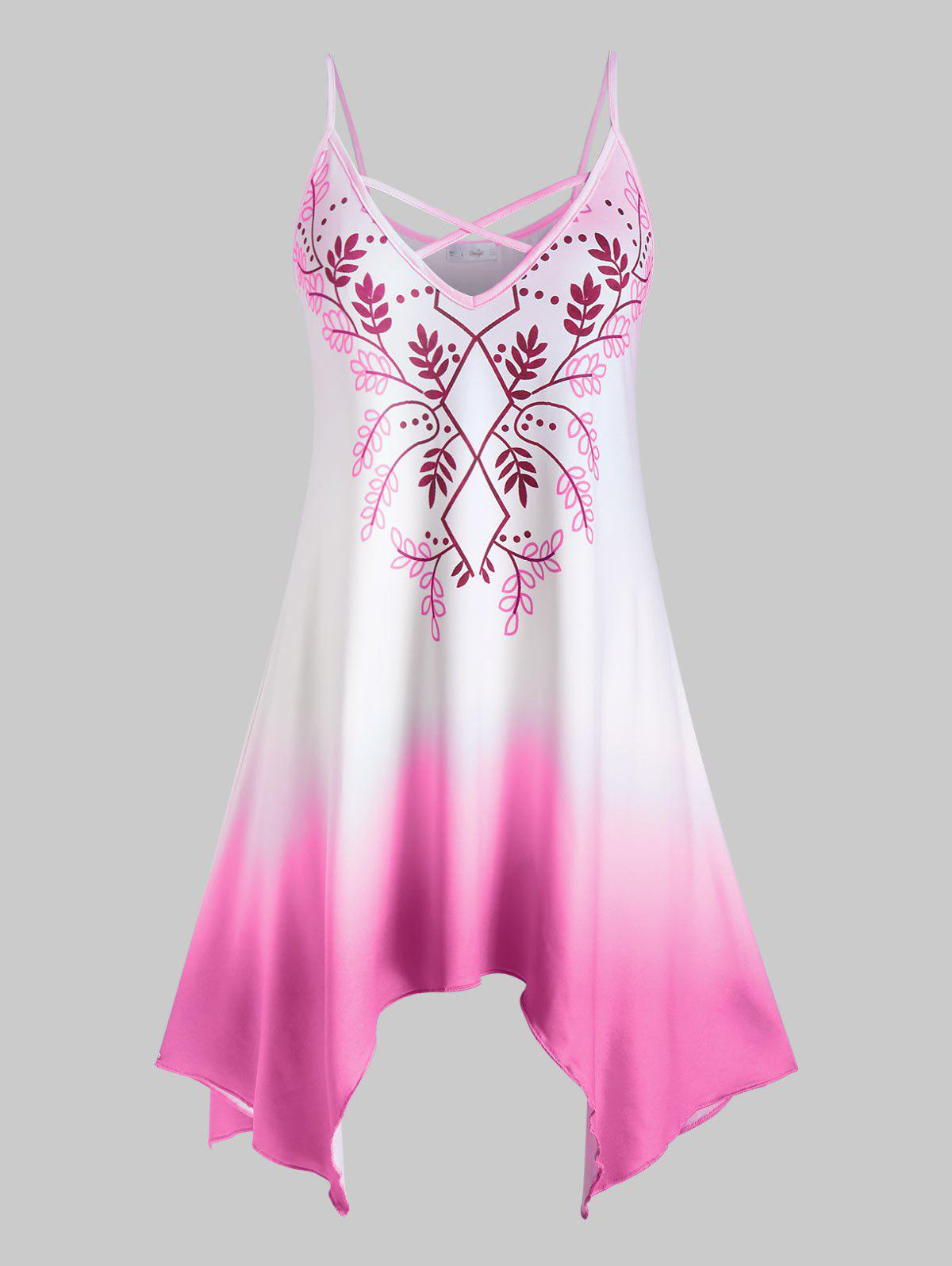 Plus Size Leaves Print Ombre Color Handkerchief Tank Top - LIGHT PINK 5X