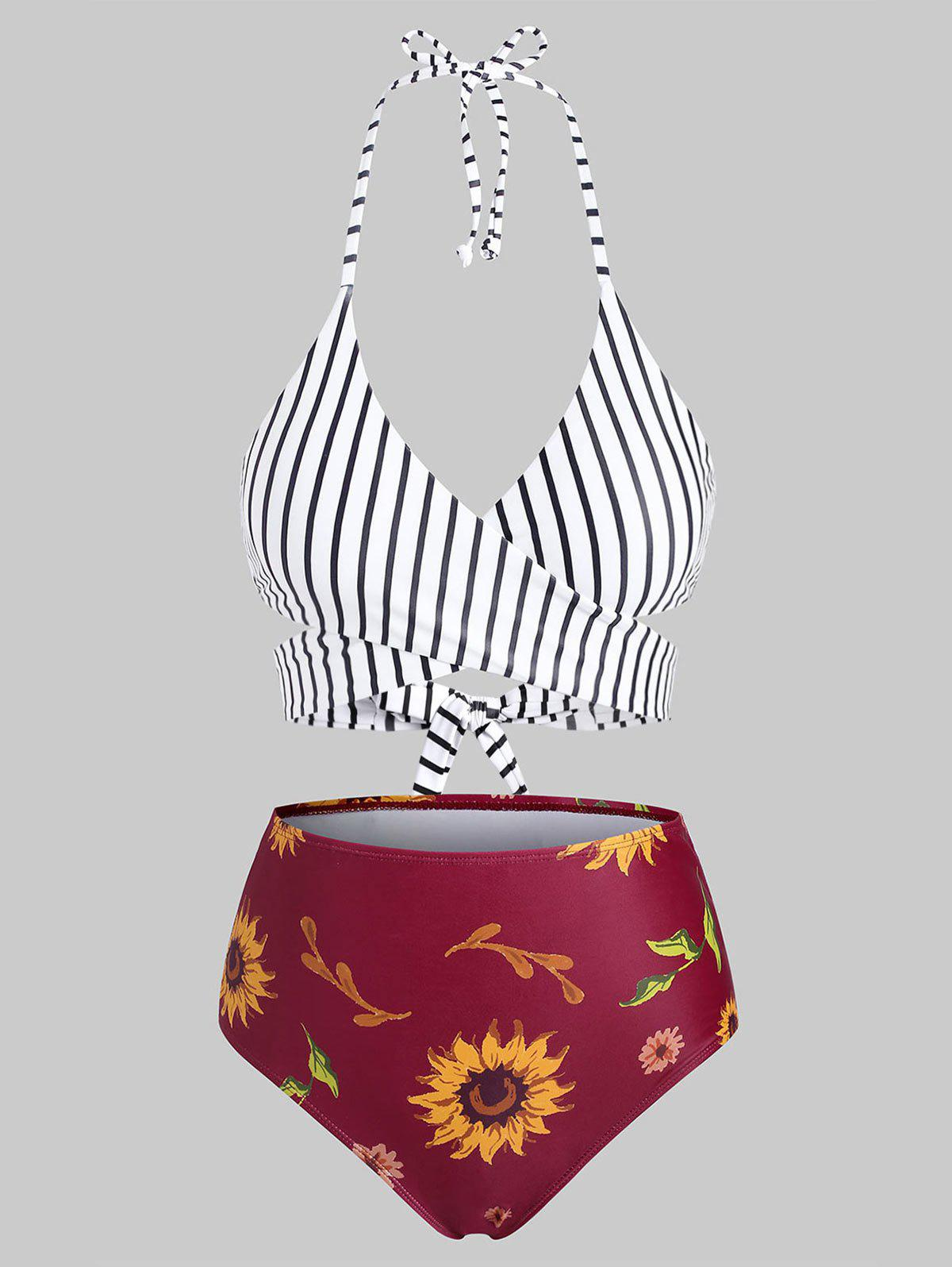 Criss Cross Wrap Stripes Sunflower Bikini Swimwear - RED WINE 2XL