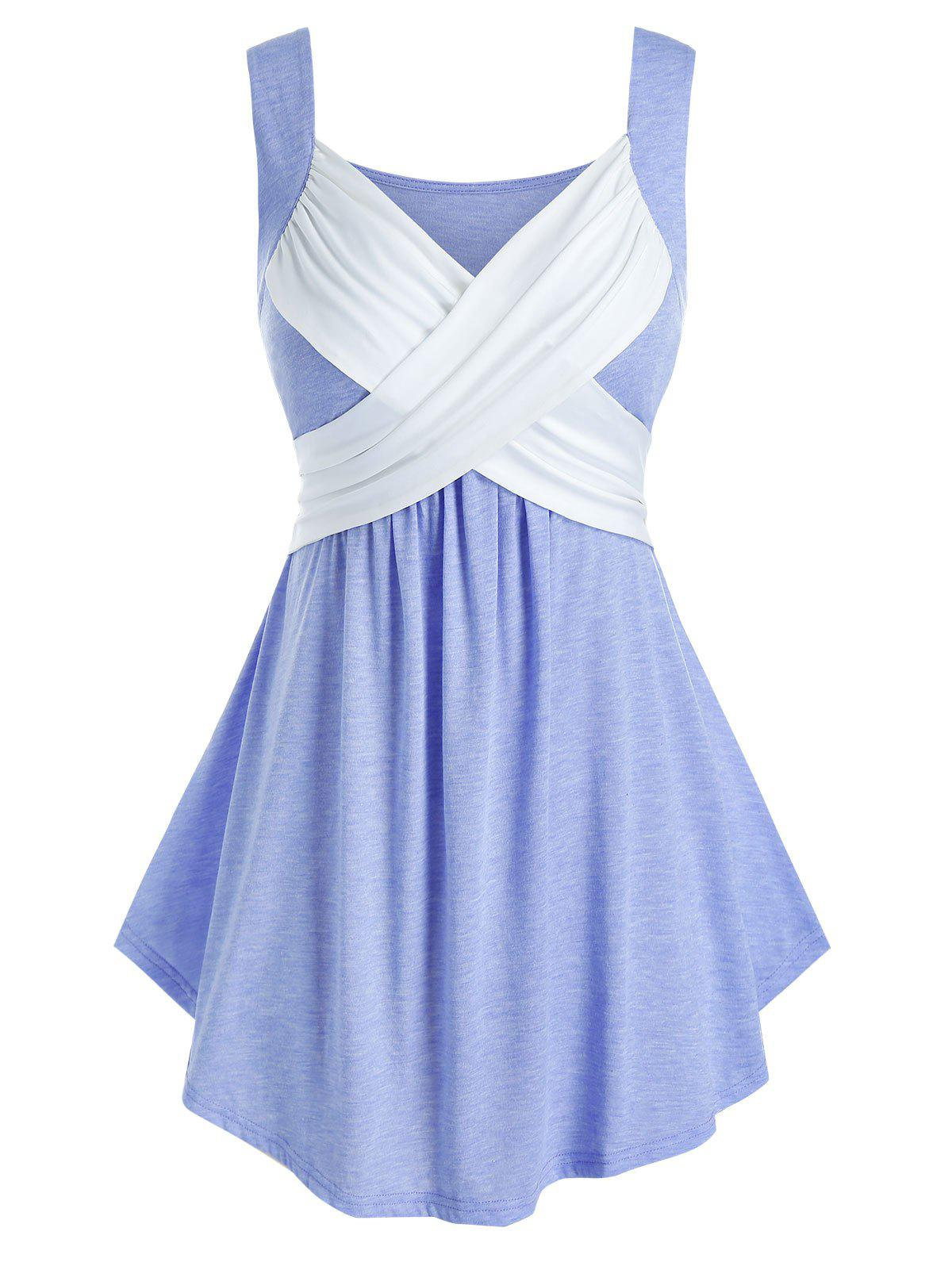Plus Size Crossover Ruched Sweetheart Neck Tank Top - CORNFLOWER BLUE 4X