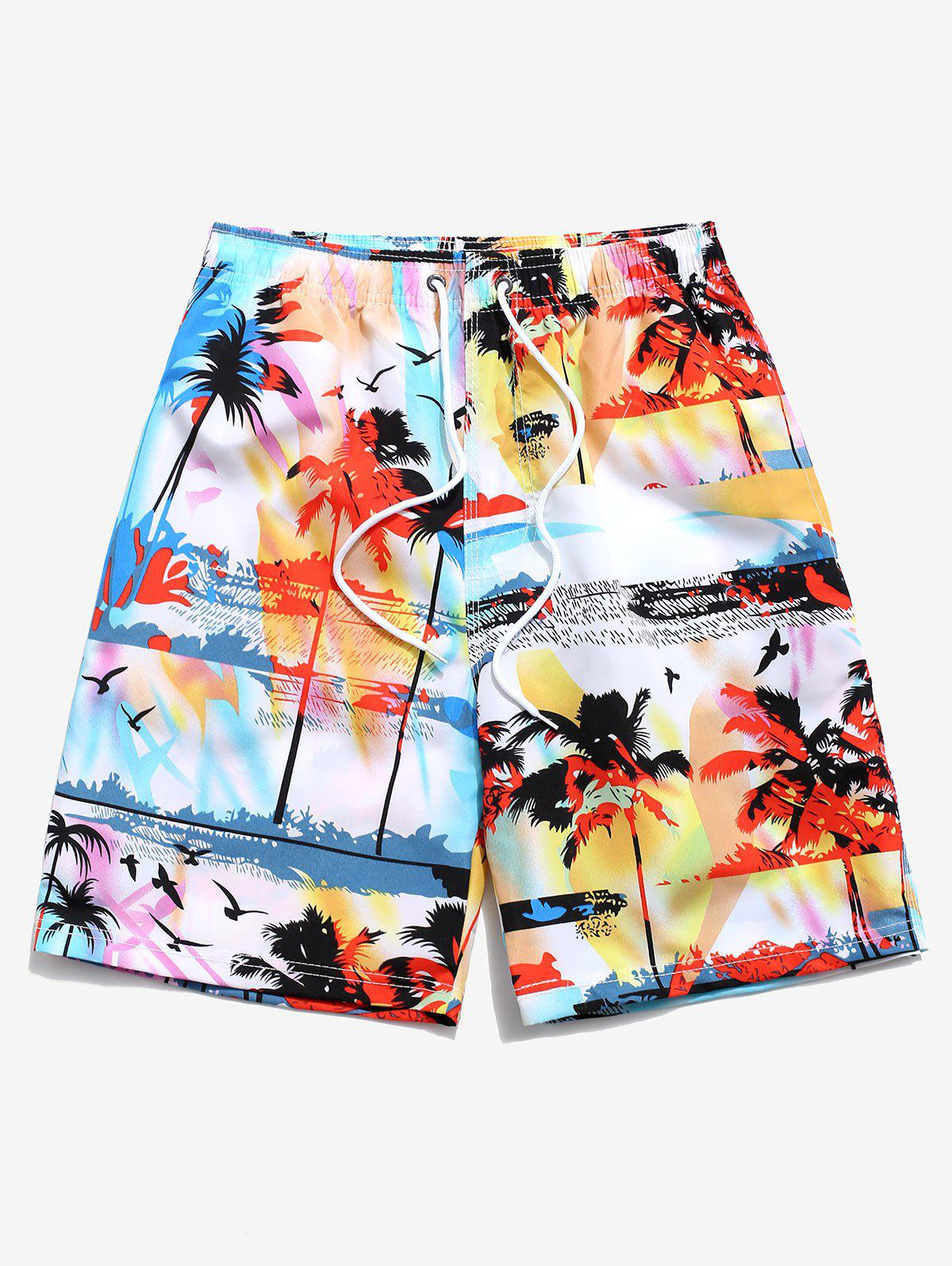 Palm Tree Landscape Printed Beach Shorts - LIGHT BLUE 2XL
