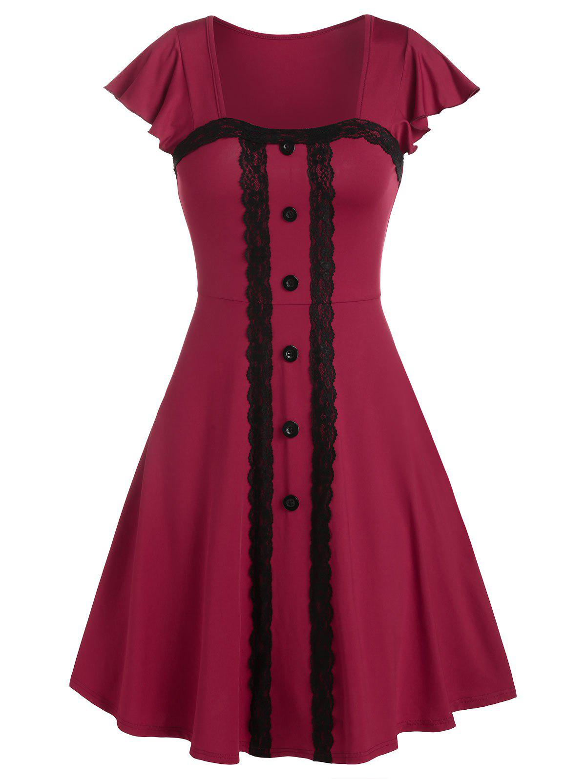 Square Collar Flare Sleeve Mock Button Mini Vintage Dress - RED WINE 3XL
