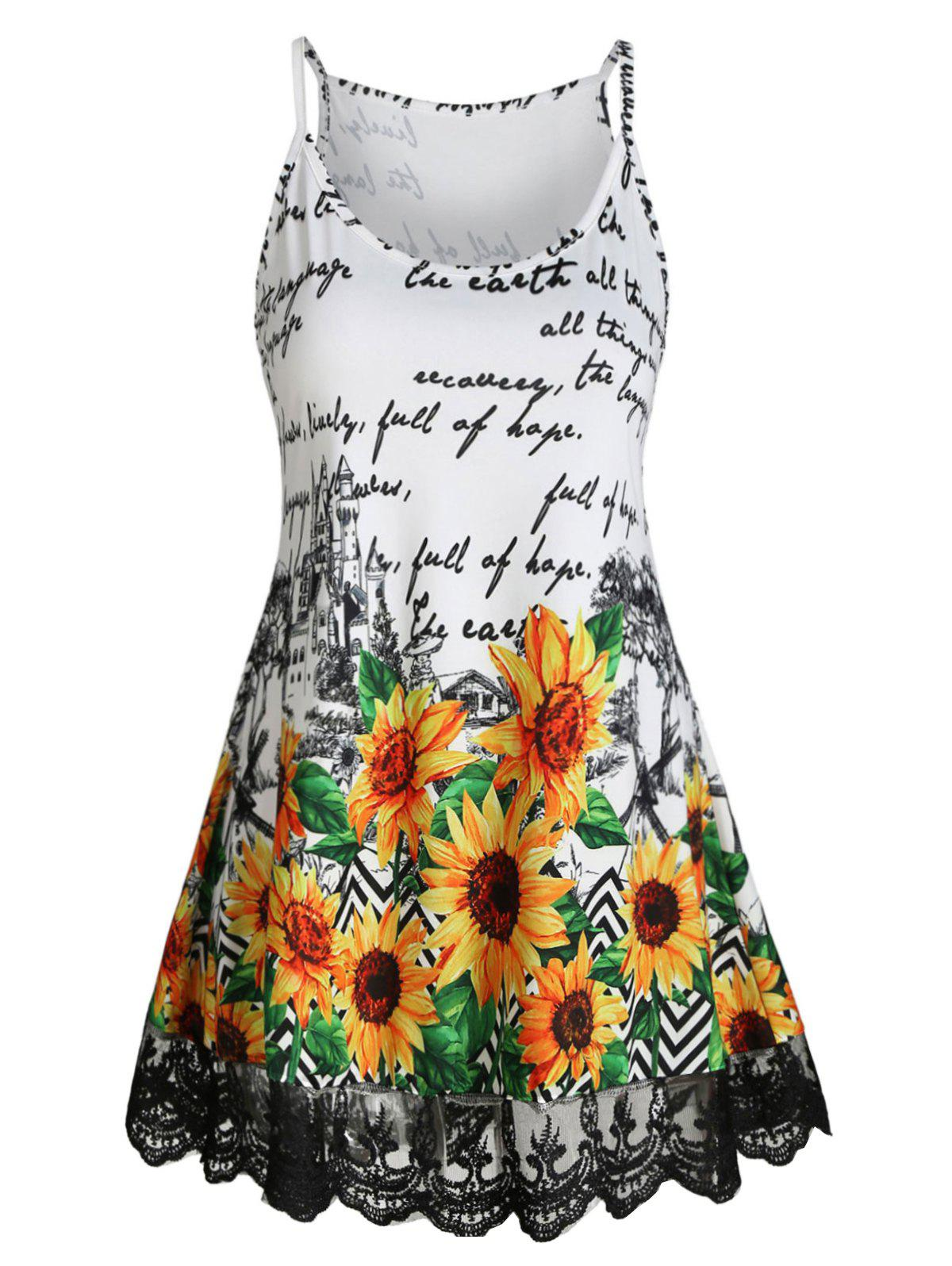 Lace Insert Letter Sunflower Cami Top - WHITE M