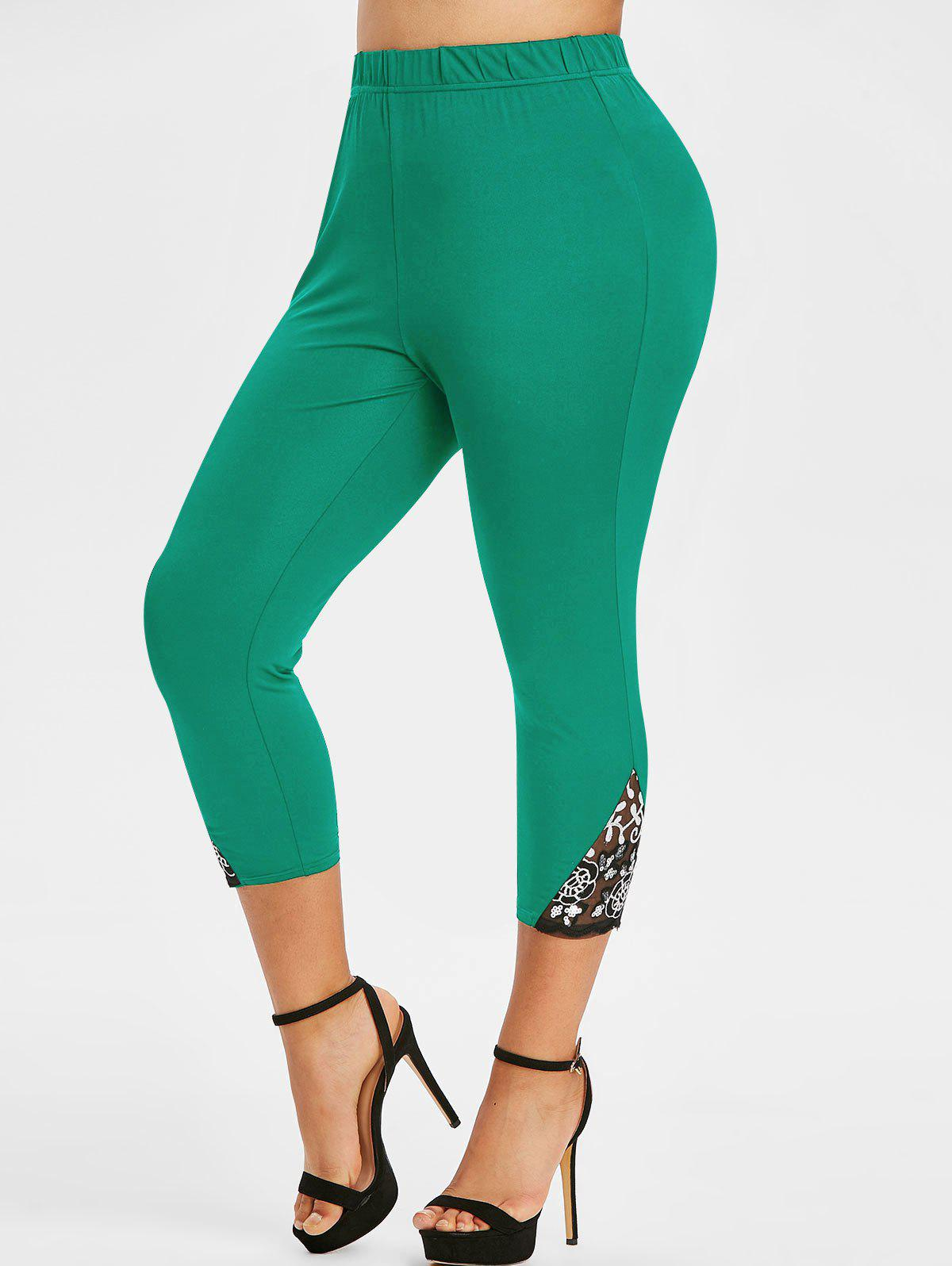 Plus Size Lace Mesh Sequins Fitted Leggings - DEEP GREEN 4X