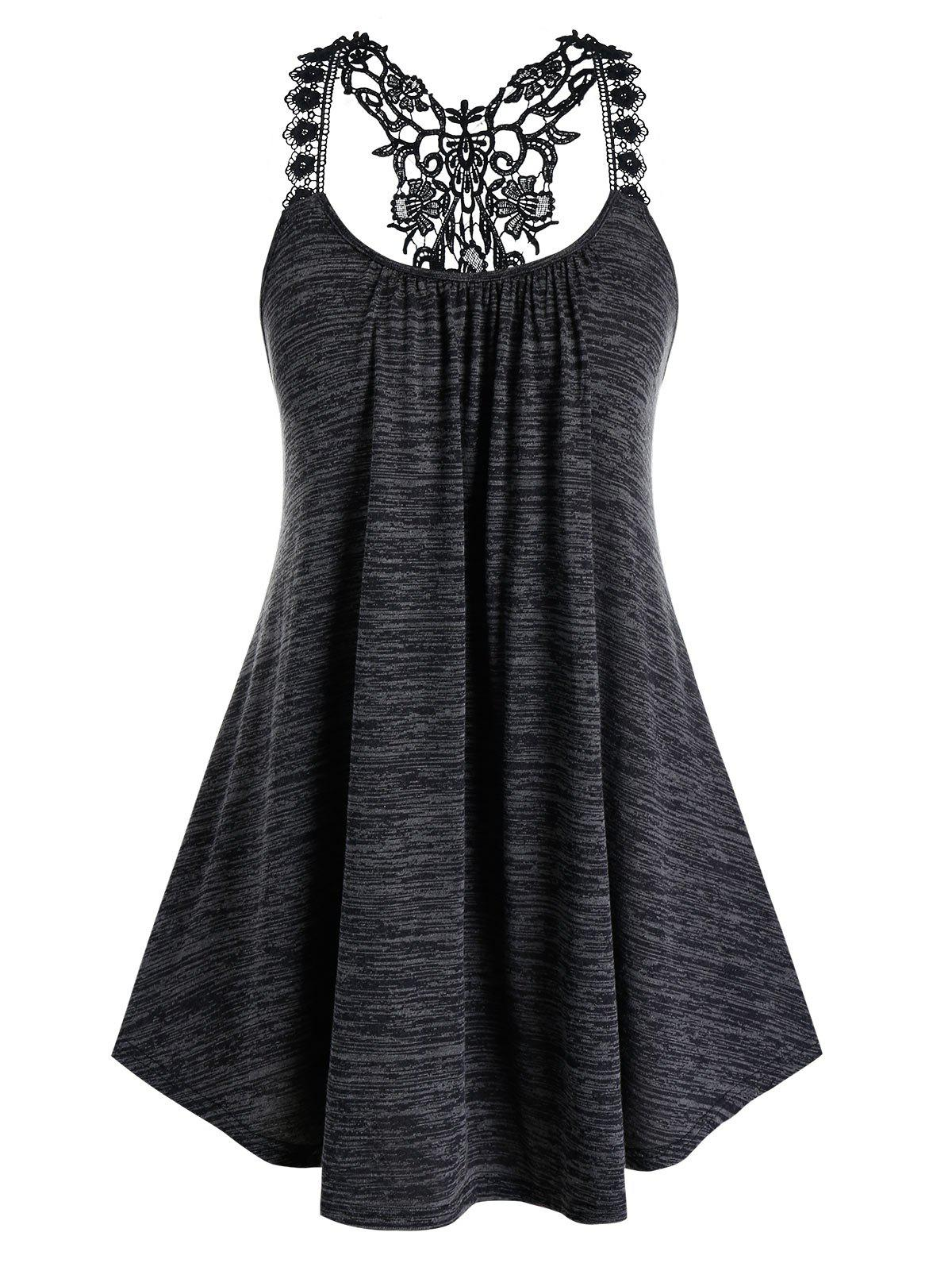 Plus Size Floral Embroidery Strap Tank Top - CARBON GRAY 4X