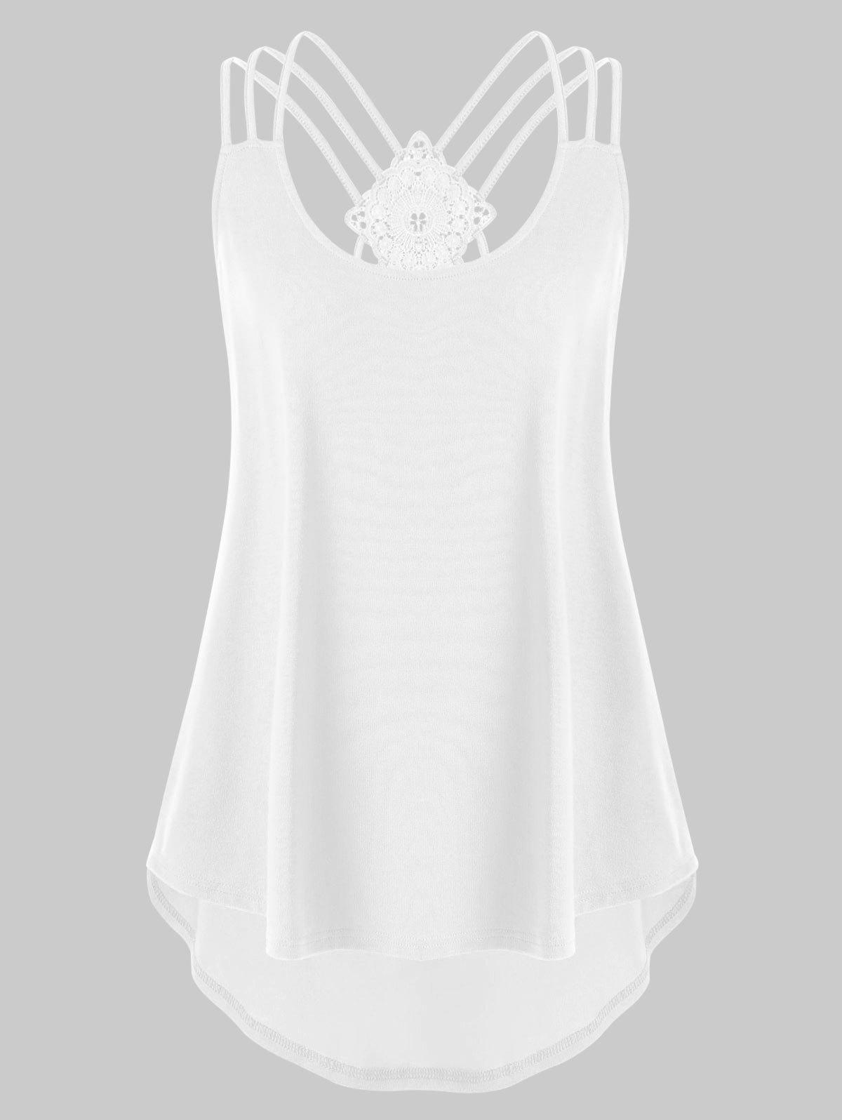 Plus Size Criss Cross Curved Tank Top - WHITE 5XL