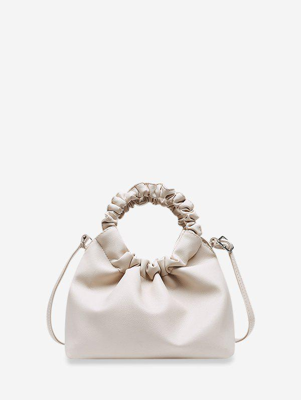 Ruched Handle Solid Hand Bag - WHITE