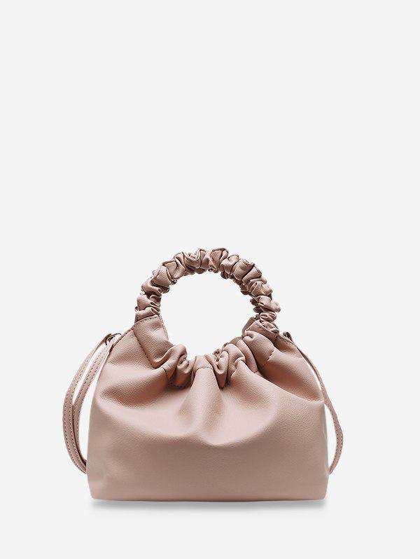 Ruched Handle Solid Hand Bag - LIGHT PINK
