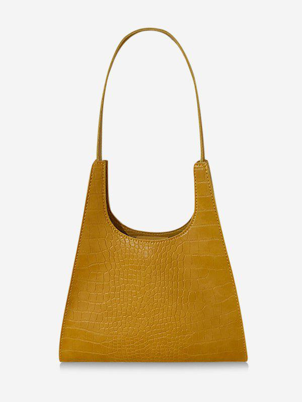 Retro Trapezoid Shape Textured Shoulder Bag - DEEP YELLOW