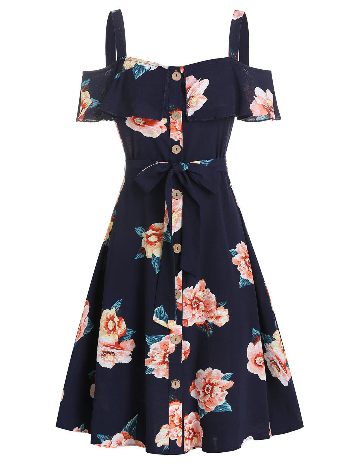 Flower Print Open Shoulder Belted Dress - CADETBLUE 3XL