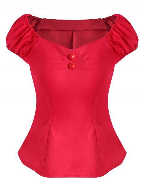 Ruched Mock Button Cap Sleeve Blouse