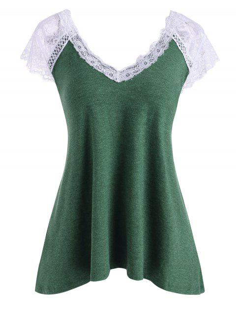 Lace Insert Plunging Cap Sleeve T-shirt
