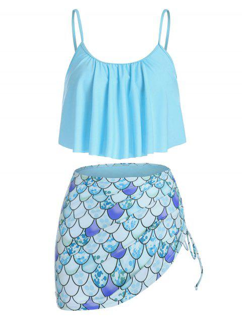 Mermaid Print Cinched Padded Tankini Set