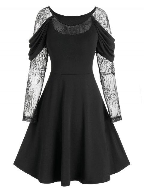 Lace Sleeve Draped Gothic Prom Dress