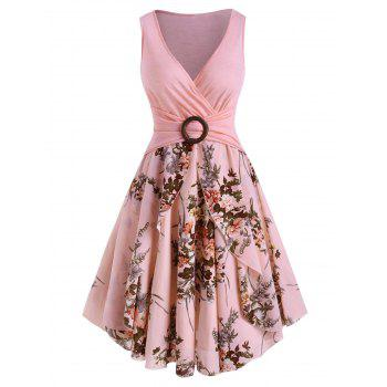 Flower Print O Ring High Waisted Surplice Dress