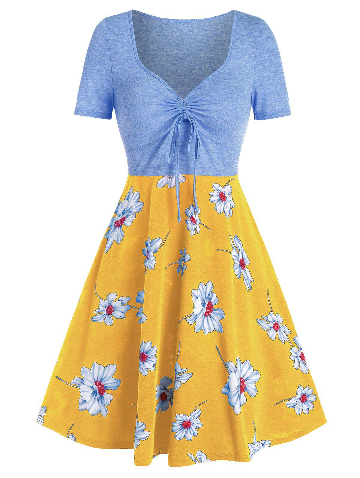 Printed Floral Drawstring High Waist Dress - LIGHT SKY BLUE 2XL
